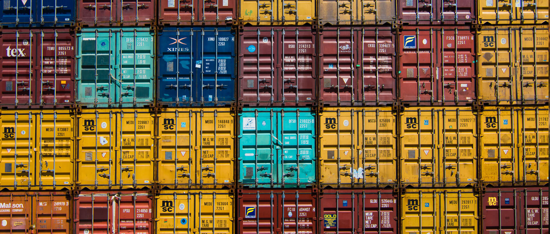 colourful stacked shipping containers