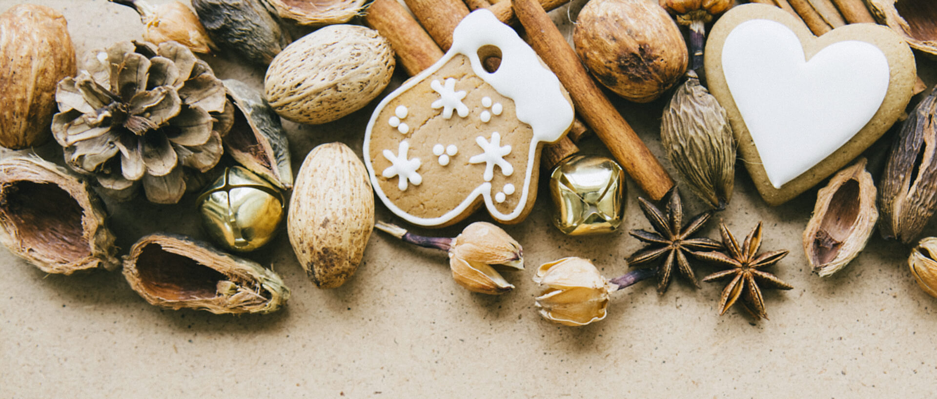 Variety of Christmas cookies, nuts and spices