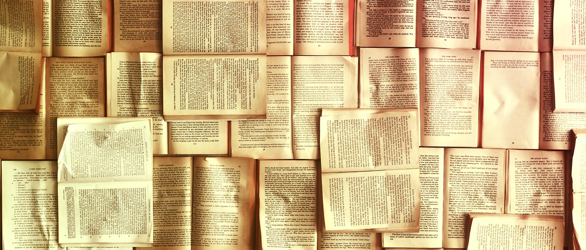 An array of open books