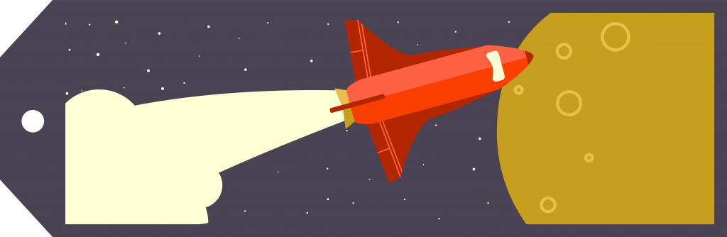 The new rebranding rocket ship orbits a planet