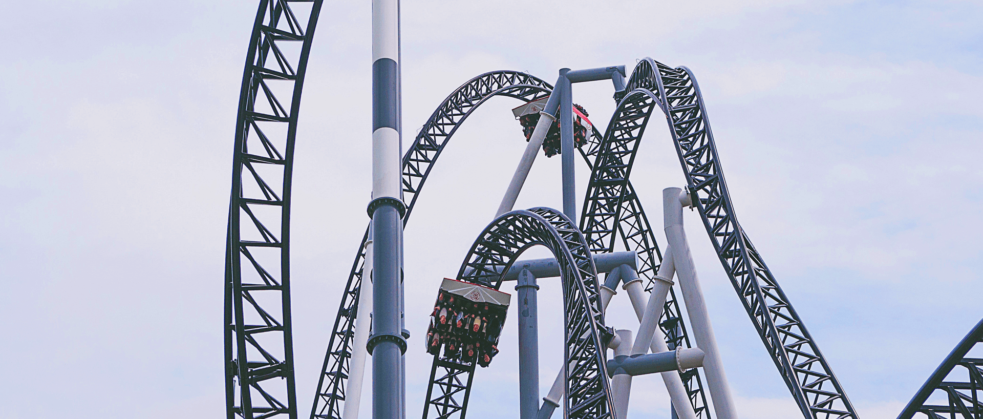 Close-up of the loops of a rollercoaster.