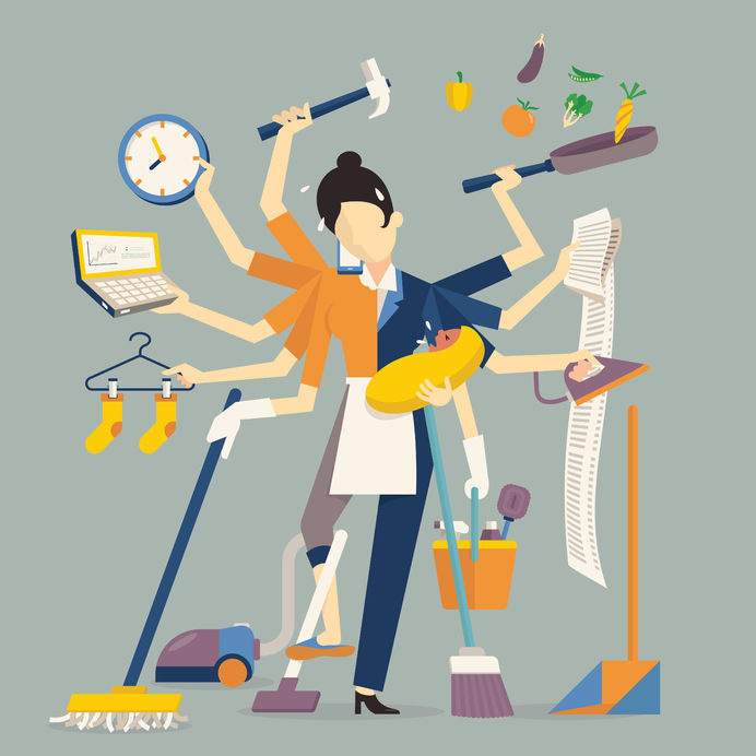 a woman stressfully juggles numerous tasks such as cleaning and running a business