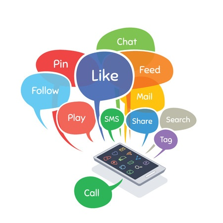 "smartphone surrounded by social media notifications, such as ""like"" and ""share""."