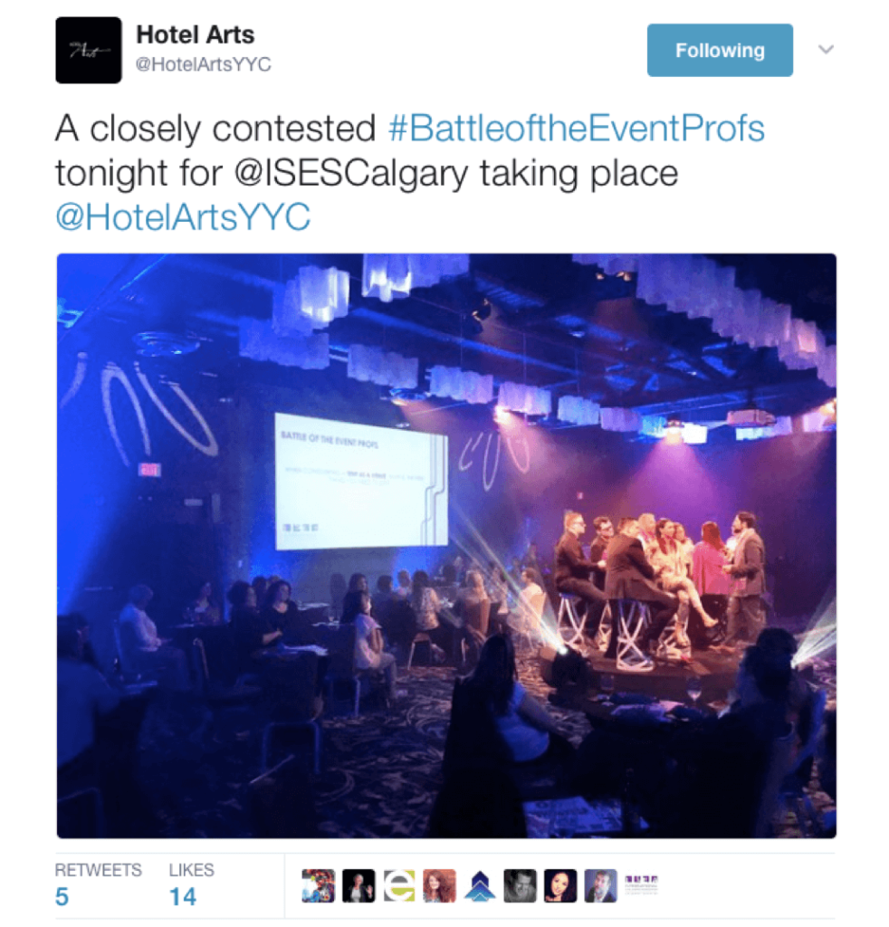 "A photo tweet from Hotel Arts that reads ""A closely contested #BattleoftheEventProfs tonight for @ISESCalgary taking place @HotelArtsYYC"""