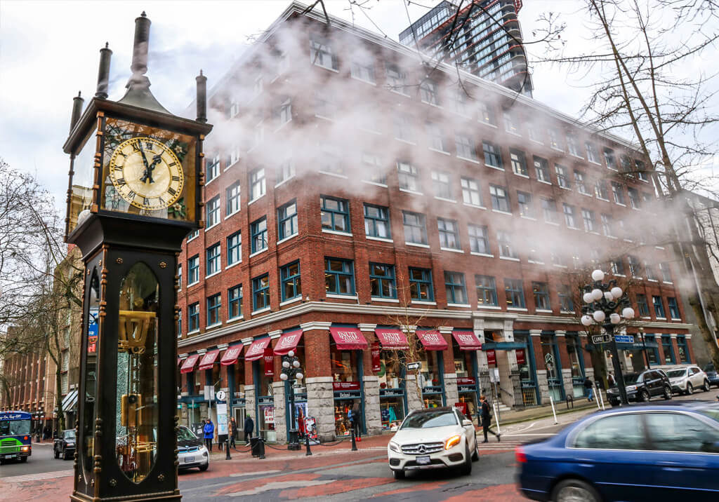 The historic steam clock in Vancouver's Gastown neighbourhood.