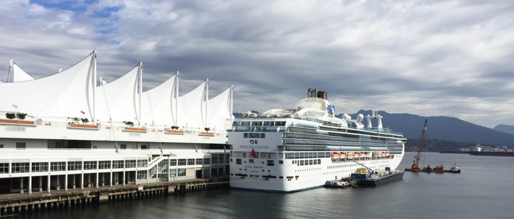 A cruise ship docked at Canada Place at Vancouver's waterfront.