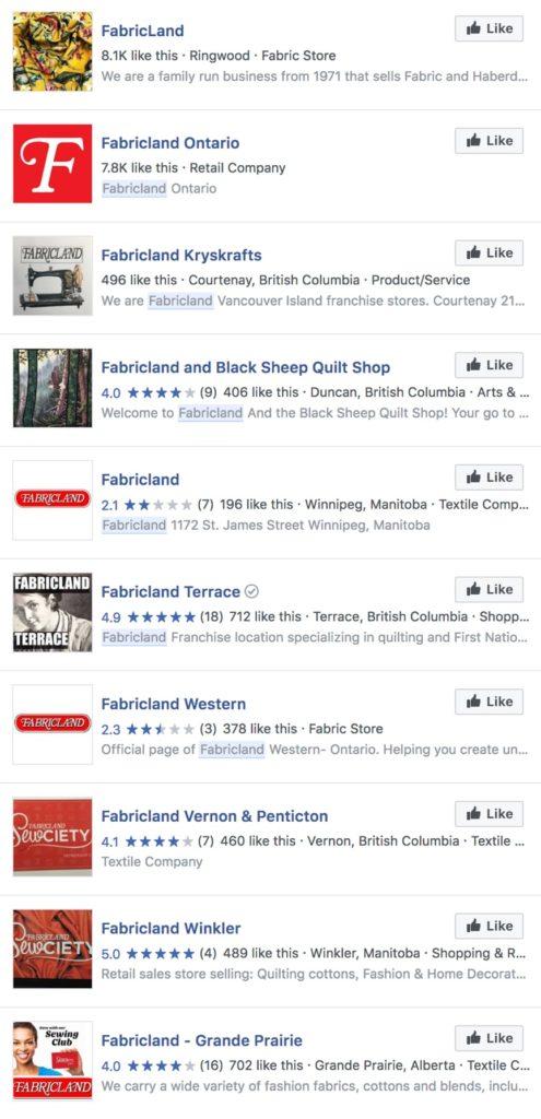fabricland social media feed