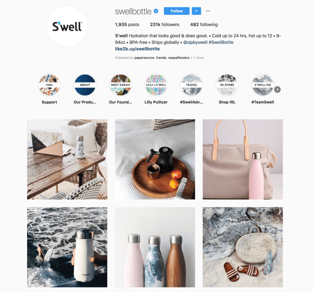 S'well's instagram feed